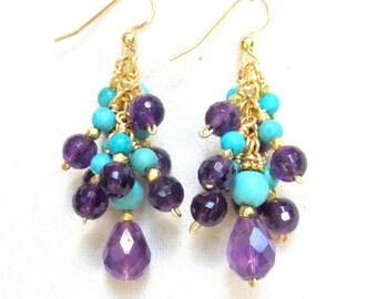 Amethyst and Turquoise Earrings with 14k Gold Vermeil - Gemstone Tassel Earrings