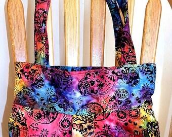 ON SALE - Fiesta Batik Colorful Skulls - Pleated Bag, Adjustable Strap, Purse, Shoulder Bag, Hobo, Lined, Outside Pockets, Inside Pockets, S
