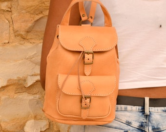 Handmade natural leather medium size backpack