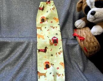 Plastic Bag Holder Sock, Puppy Dogs on Cream Print