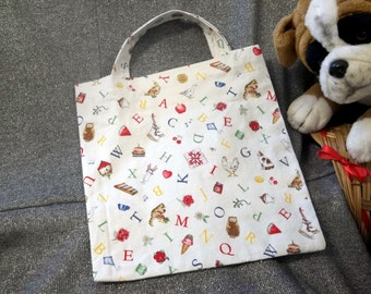 Book Lunch N Small Gift Tote Bag, ABC Animals Print