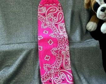 Plastic Bag Holder Sock, Highlighter Pink Paisley Print