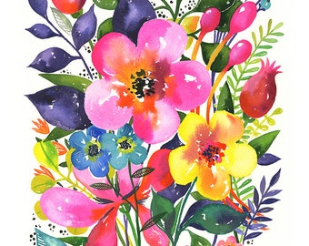 Pink Bloom... - limited edition giclee print of an original watercolor  (8 x 10 in)