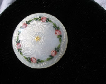 Enamel on Sterling, hand painted roses, as is, missing pin back.  ca 1940s