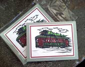 New Orleans Streetcar with Christmas tree blank Card