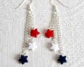Dangling Stars in Red, White and Blue Pierced or Clip On Earrings