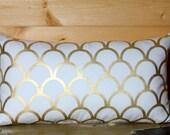 Gold Scallop Pillow Cover - Modern Pillow - Pillow Cover - Chic Pillow - Designer Pillow - 14x24 - Bedroom Pillow - Sofa Pillow - Chic
