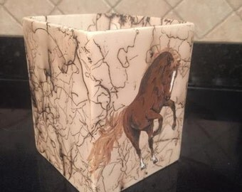 SQUARE HORSE PLANTER horse hair pottery with your horse hand painted on side earthenware pottery Pet Memorial