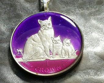 Isle of Man - Snowshoe Cat Coin Pendant -  hand painted