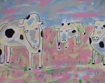 Cows Mixed Media Folk Art Original Painting