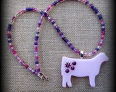 Pink Show Heifer Glass Pendant With Beaded Necklace