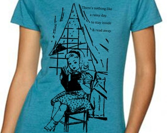 book tshirt - book shirt - womens tshirts - book lover - book gift - librarian gift - book worm - NOTHING Like A RAINY DAY - crew neck