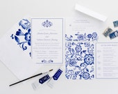 Classic Blue Wedding Invitation Collection, China Patterned Inspired, Wedding Announcement