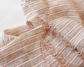 Pure Linen Scarf, Striped Summer Linen Scarf with fringes, white orange brown stripes