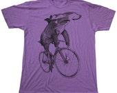 Hammerhead Shark on a Bicycle Shirt - Custom Colors available - American Apparel