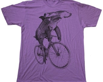 Hammerhead Shark on a Bicycle Shirt - Custom Colors available - American Apparel