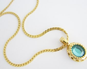 Vintage gold necklace with aqua blue crystal pendant (S5)