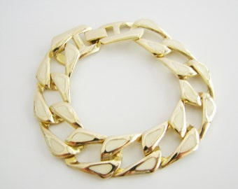 Vintage simple gold chain bracelet with ivory enamel (O10)