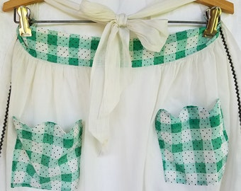 Vintage Half Apron with Green Plaid and Polka Dot Trim