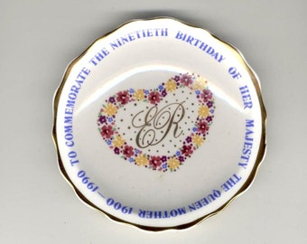 Queen Mother Elizabeth's 90th Birthday  Commemorative Small Dish