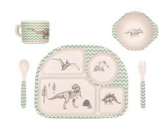Bamboo Dinnerware - Dinosaur Feast - (FDA & LFGB food safe approved)