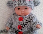 RESERVED Listing Sock Monkey Set of Knit Outfit for Itty Bitty Chubby 5 inch Berenguer Baby Dolls