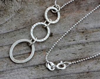 Little sterling silver circle necklace pendant,  round textured circle neckalce, minimalist simple delicate necklace, contemporary jewelry