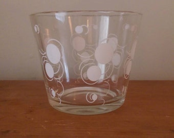 Vintage Glass Bowl with White Circles and Retro Feel