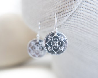 Silver Drop Earrings Sterling Silver Jewelry Floral Mandala Gift for Anniversary Wife Girlfriend Mothers Valentines Christmas Day Simple