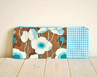 Pencil Pouch with Brown & Aqua Floral Print Turquoise Gingham Cosmetics
