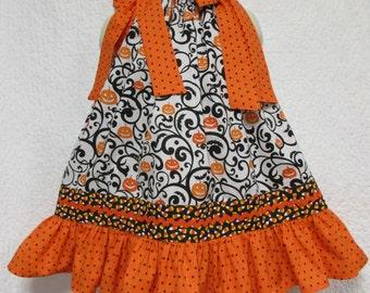 Girls Halloween Dress 2T/3T Orange Black Pumpkin, Swirls, Candy Corn Boutique Dress, Pillowcase Dress, Pillow Case Dress