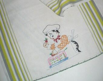 Tea towel, Baker, Embroidery, Vintage, Linen, Cake baker, Cook, Embroidered towel, Kitchen