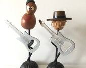 TWO Vintage Bottle Openers Musicians Guitars