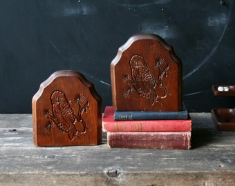 Wood Bookends Owl 70s Vintage From Nowvintage on Etsy
