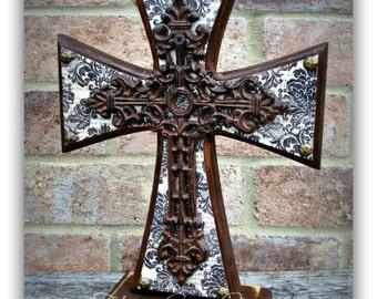 Wood Cross - Standing Cross - Brown and White Damask with Iron Cross
