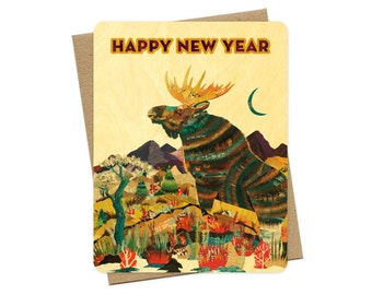 Moose Wood New Year Card - A Collaboration with Mixed Media Artist Dolan Geiman - Real Wood Holiday Card - Happy New Year - WC2227