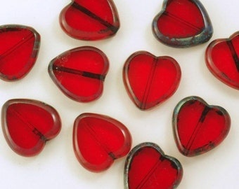 16mm Transparent Red Window Heart Beads with Picasso Finish - 10