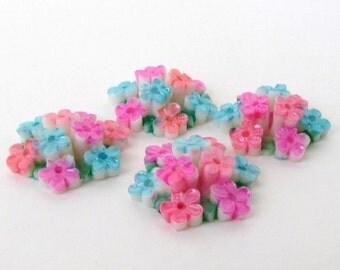 Vintage Flower Cabochon Painted Plastic Aqua Pink Coral Bouquet Round Japan 22mm pcb0321 (4)