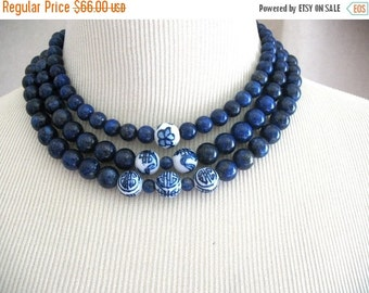 SALE Lapis Dark Blue Navy Asian Chinese Symbols Mirin triple strand necklace