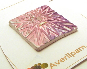 Large Square Button Handmade Polymer Clay White and Metallic Pink 40mm