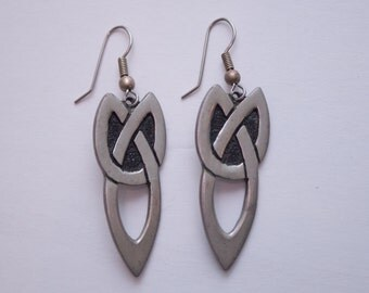 pewter St. Justin Celtic knot dangle earrings