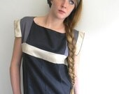 ON SALE Black, Taupe Gray and Cream Geometric Vintage inspired Silk Dress