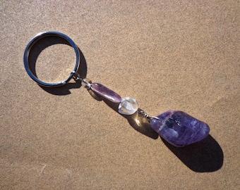 Key Ring Amethyst and Clear Quartz Gemstones