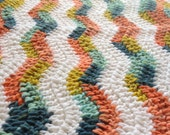 Ready to Ship Soft and Cozy Striped Sixties and white wave Baby Blanket - Beautiful and Luxuriously Handcrafted CROCHET Blanket