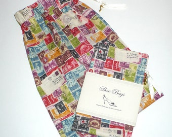 Travel, Shoe Bags, Postage Stamps, Storage, Set of 2, multi-color, drawstring
