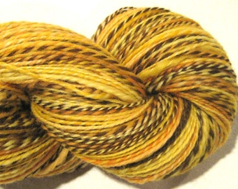 Handspun yarn, Aslan, worsted weight, 2 ply, 446 yards, wool yarn, gold yarn, yellow yarn, brown yarn, knitting supplies,  crochet supplies