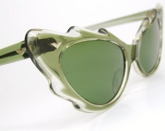 Vintage Green Scallopped Cat Eye Sunglasses Frames NOS