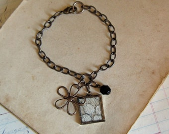 Lace Flower Charm Bracelet Rustic Jewelry Mothers Day