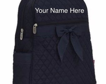 Backpack Navy Quilted with Personalized Monogram