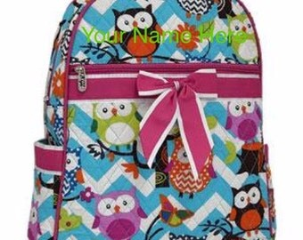 Backpack Monogrammed Aqua Chevron Quilted with Owls and Hot Pink Ribbon Accent